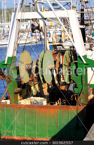details of an old fishing boat, a trawler stock photo, details of an old fishing boat, a trawler by Chretien