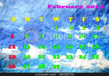 Calendar of February 2012 stock photo, Calendar of February 2012 by photomyheart