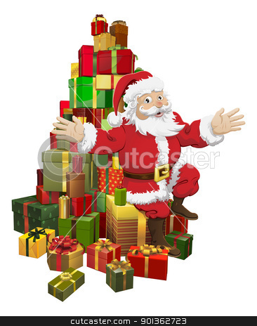 Santa sitting on a pile of gifts waving stock vector clipart, An illustration of Santa sitting on a pile of gifts waving by Christos Georghiou