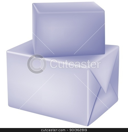 Boxes stock photo, Boxes and Blank Wrapping Papers - colored illustration by derocz