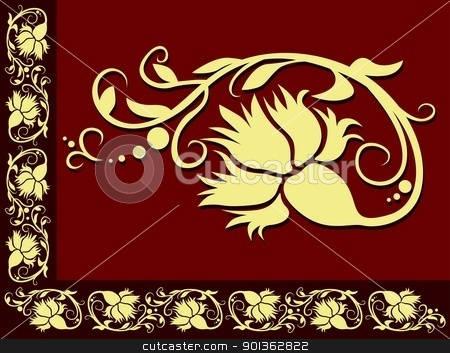 Floral Border stock photo, Dark Red Floral Border - colored illustration by derocz