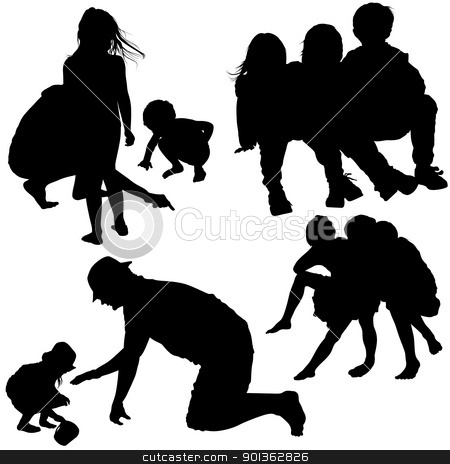 Family Silhouettes stock photo, Family Silhouettes - black illustrations by derocz