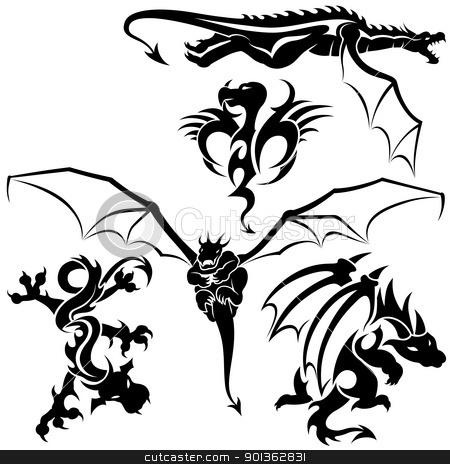 Dragons stock photo, Tattoo Dragons - black illustration by derocz