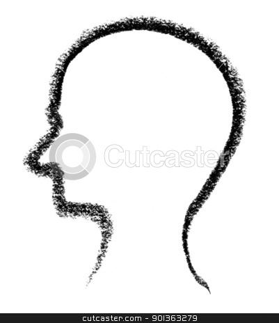 sketched head stock photo, crayon-sketched head silhouette done by me by prill