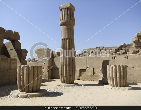 stone column around Precinct of Amun-Re stock photo, scenery around Precinct of Amun-Re in Egypt with decorative column and various stone remains in sunny ambiance by prill