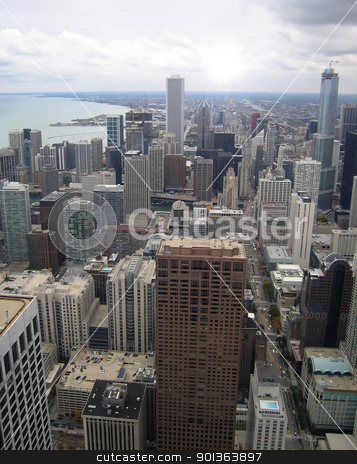 Chicago aerial view stock photo, aerial view of Chicago (USA) by prill
