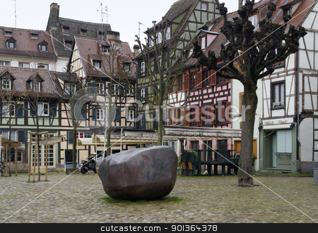 scenery in Strasbourg detail stock photo, scenery in Strasbourg with pictorial timbered houses (Alsace/France) by prill