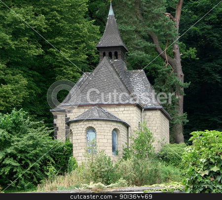 small chapel stock photo, small chapel near a forest at summer time in Germany by prill