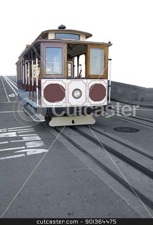 american streetcar stock photo, nostalgic streetcar on tracks in San Francisco (USA) by prill