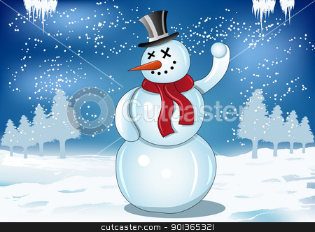 Smiling snowman with red scarf and snowball stock vector clipart, Smiling snowman with red scarf and snowball on blue background illustration by aos1212