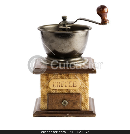coffee mill  stock photo,   Wooden coffee mill isolated on white background  by klenova