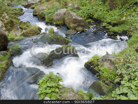 detail of the Triberg Waterfalls stock photo, scenery showing a detail of the Triberg Waterfalls in the Black Forest in Southern Germany, seen from above by prill