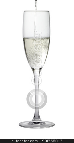champagne glass while filling stock photo, Studio photography of a champagne glass gets filled, isolated on white with clipping path by prill