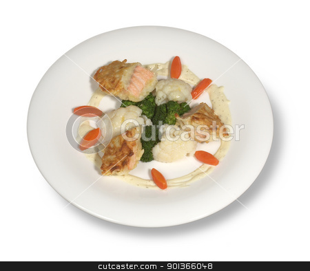 fine meal on white plate stock photo, studio photography of a fine meal in white back with shadow by prill