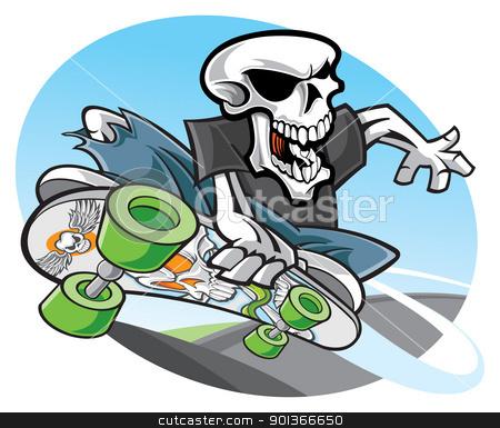 Skateboarding stock vector clipart, Skeleton skateboarding by SlipFloat