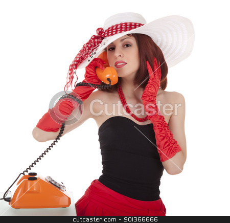 Fashion girl in retro style with vintage phone stock photo, Fashion girl in retro style with vintage phone on white background by Iryna Rasko