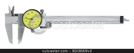 metallic scale caliper stock photo, studio photography of a caliper made of metal with scale in white back by prill