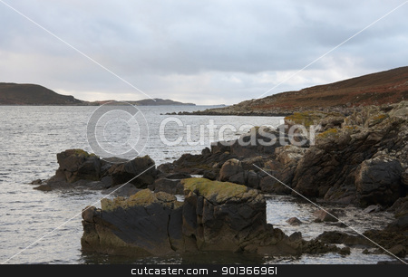 scottish coast with stones stock photo, coastal scenery in Scotland at evening time by prill
