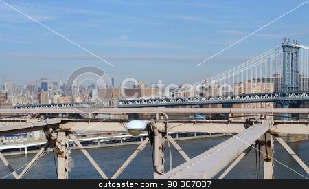 New York skyline and Manhattan Bridge stock photo, city view of New York seen from Brooklyn Bridge (USA) by prill