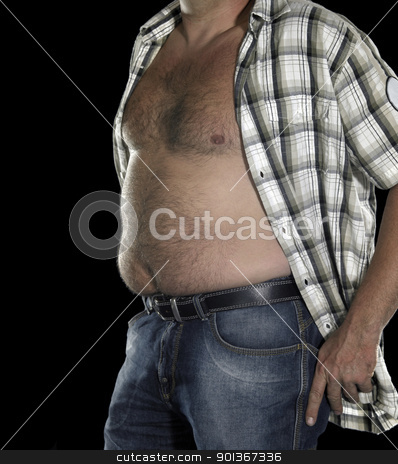 potbelly of a man stock photo, male naked belly in black back by prill