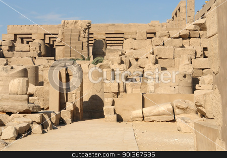 Precinct of Amun-Re stock photo, sunny illuminated architectural scenery at the Precinct of Amun-Re in Egypt (Africa) by prill