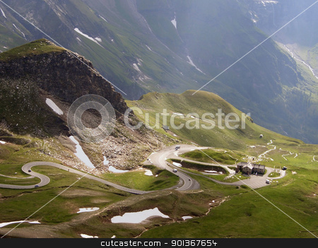 Großglockner high alpine roads stock photo, mountain scenery in the Alps with serpentine roads at summer time by prill