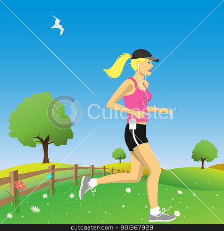 Jogger stock vector clipart, A Woman Jogging in the Countryside by Binkski Art