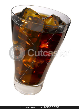 Cola on the rocks stock photo, A glass of cola with ice cubes  by Han van Vonno