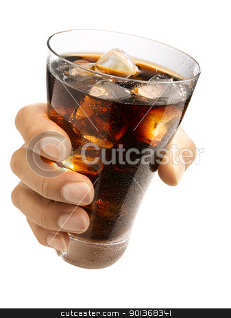 Hand holding a cola stock photo, Hand holding a wet glass ice cold cola with ice cubes in it by Han van Vonno