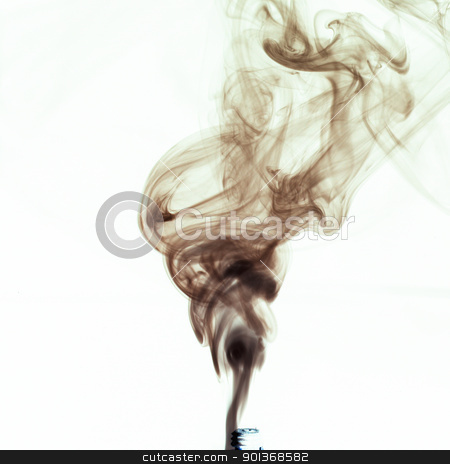 smoke from cigaret stock photo, black smoke against a white background by Han van Vonno