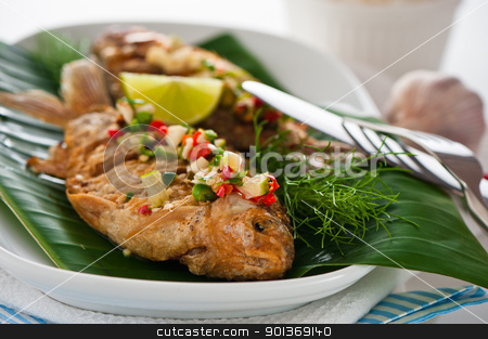 Fresh fried fish with chili sauce garlic and dill stock photo, Fresh fried fish with chili sauce garlic and dill by p.studio66