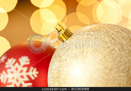 Close-up of Two Christmas balls stock photo, Close-up photograph of two christmas balls on a blurry background by mpessaris
