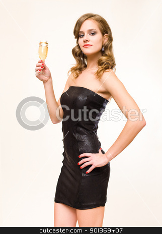 Beautiful young blond with champagne glass. stock photo, Half length portraif of beautiful young blond with champagne glass. by exvivo