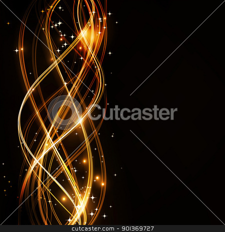 Abstract wavy pattern with stars stock vector clipart,  Overlaying wavy lines forming an abstract pattern on a dark background. With  stars and space for your text. EPS10 by Ina Wendrock