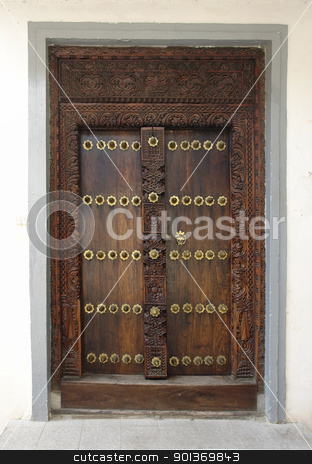 ornamented door in Africa stock photo, door in Stone Town (Zanzibar) by prill