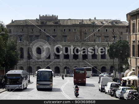 Theatre of Marcellus stock photo, Street near theTheatre of Marcellus in Rome (Italy) in sunny ambiance by prill