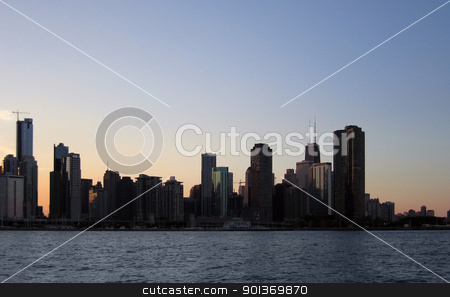 waterside scenery with Chicago skyline stock photo, detail of Chicago skyline (USA) at evening time by prill