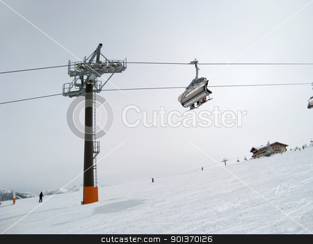 ski lift in Wagrain stock photo, Winter scenery and skiing in Wagrain (Austria) by prill