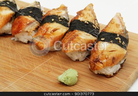 Eel sushi stock photo, Group of broiled eel (unagi) sushi by Olena Pupirina