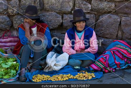Peruvian women stock photo, Cusco , Peru - May 27 : Peruvian women in a market in Cusco Peru , May 27 2011 by Kobby Dagan