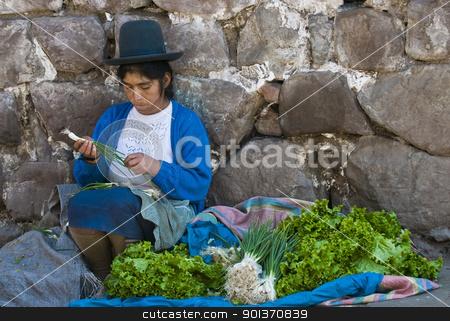 Peruvian woman stock photo, Cusco , Peru - May 27 : Peruvian woman in a market in Cusco Peru , May 27 2011 by Kobby Dagan