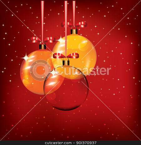 Christmas background  stock vector clipart, Christmas background with glass baubles, eps10 vector illustration by Milsi Art