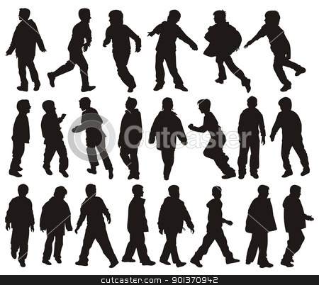 Boys in action stock vector clipart, Vector silhouettes of Boys in action by fractal.gr
