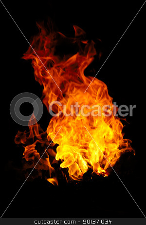 Fire  stock photo, Fire isolated on a black background by Lars Christensen