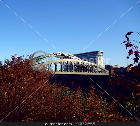 Wearmouth Bridges stock photo, The Wearmouth Bridge is a through arch bridge across the River Wear in Sunderland. It is the final bridge over the river before its mouth with the North Sea. The current bridge is the third Wearmouth Bridge in its position. by Real Pictures