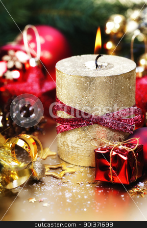 Christmas composition stock photo, Christmas composition with candle and decorations by klenova