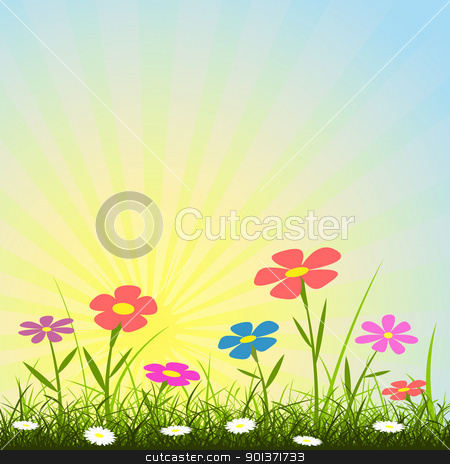 Flower Background stock vector clipart, A Simple Background with Flowers and Sunbeams by Binkski Art