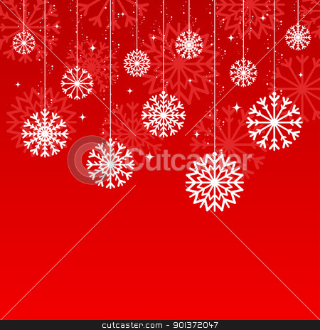 christmas snowflake background stock vector clipart, red christmas snowflake background for your design by artizarus