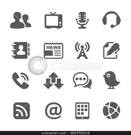 communication and media icons stock vector clipart, communication and media icons for your design by artizarus