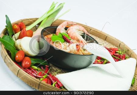 Tom Yum Goong  stock photo, Tom Yum Goong - Spicy Shrimp Soup by p.studio66